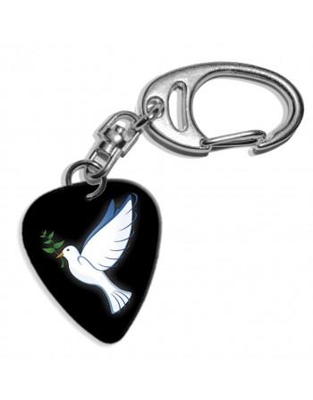 Peace dove plectrum key ring