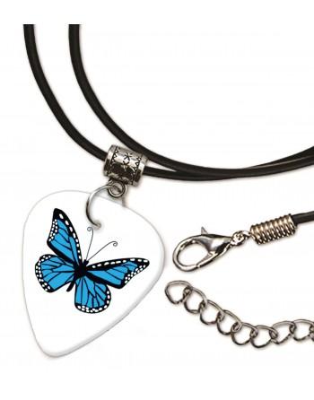 Blauwe vlinder ketting met plectrum