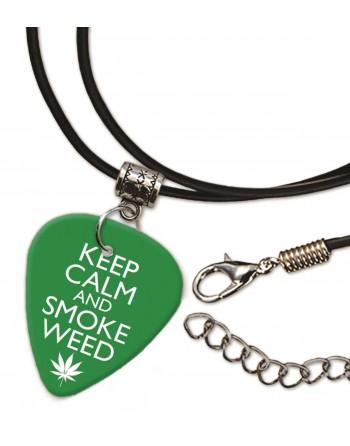 Keep Calm and Smoke Weed ketting met plectrum