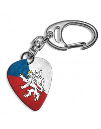 Plectrum sleutelhanger met de afbeelding van de Tjechische Republiek vlag