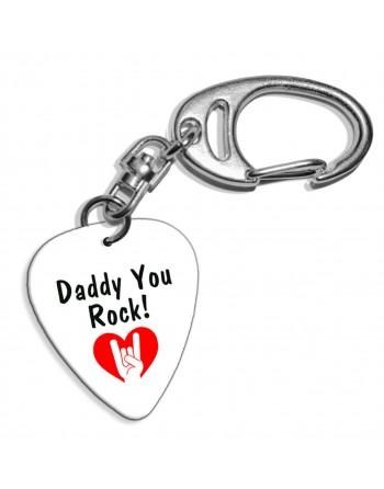 Plectrum sleutelhanger met de afbeelding Daddy You Rock!