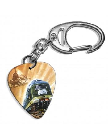 Plectrum sleutelhanger met de afbeelding van Flying Scotsman trein