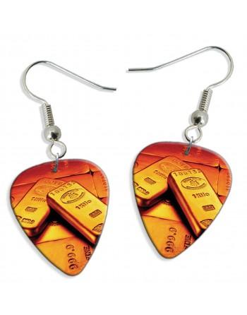 Gold bars pick earrings