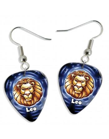 Leo zodiac plectrum earrings