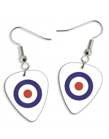 Mod symbol pick earrings