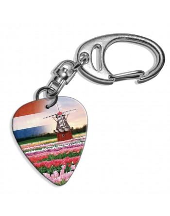 Plectrum sleutelhanger met de afbeelding van een Nederlandse molen