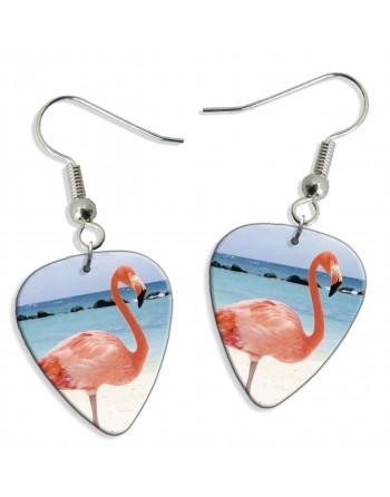 Flamingo pick earrings