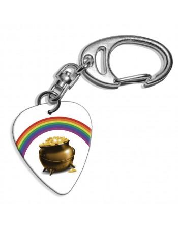 Plectrum sleutelhanger met de afbeelding van pot met goud en regenboog