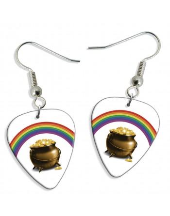 Pot met goud en regenboog plectrum oorbellen