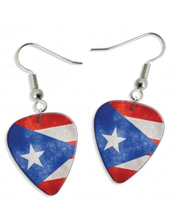 Puerto Rico Grunge vlag plectrum oorbellen