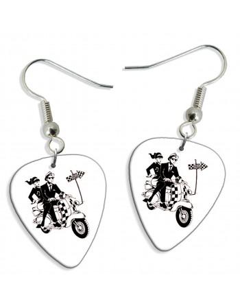 Ska scooter pick earrings