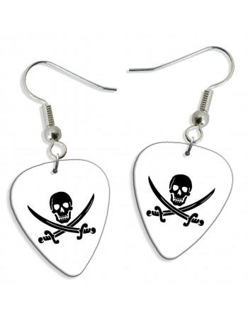 Skull with sword pick earrings