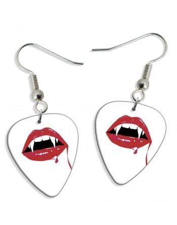 Vampire teeth pick earrings
