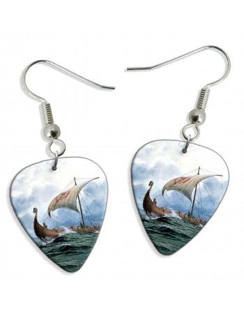 Viking boat pick earrings
