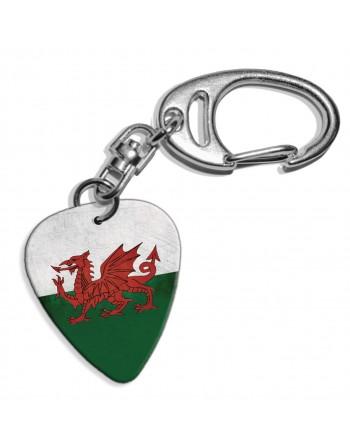 Plectrum sleutelhanger met de afbeelding van Wales Grunge vlag