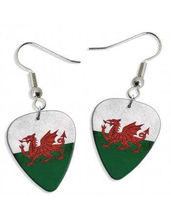 Wales Grunge vlag plectrum oorbellen
