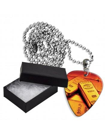 Goud staven aluminium plectrum ketting