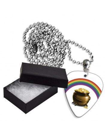 Pot met goud en regenboog aluminium plectrum ketting