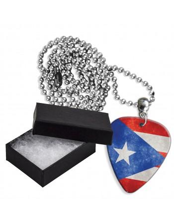 Puerto Rico Grunge vlag aluminium plectrum ketting