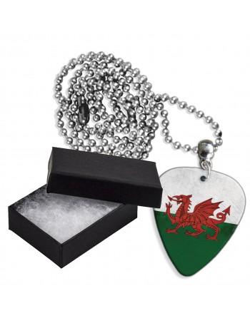 Wales Grunge vlag aluminium plectrum ketting