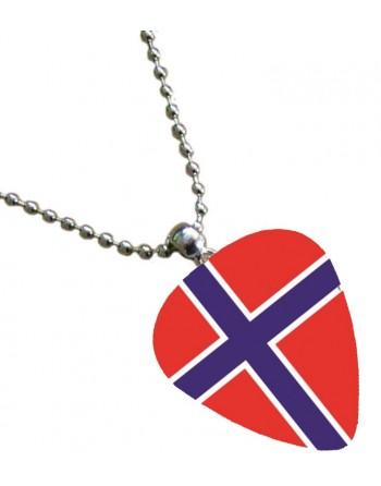 Plectrum ketting met de afbeelding van de Noorse vlag