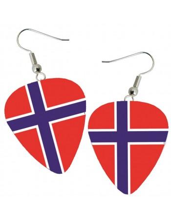 Norwegian flag pick earrings