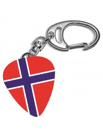 Plectrum sleutelhanger met de afbeelding van de Noorse vlag