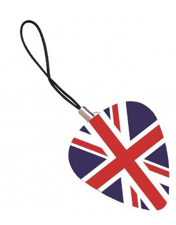 Plectrum telefoonhanger met de afbeelding van de Engelse vlag