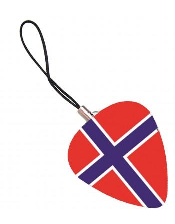 Plectrum telefoonhanger met de afbeelding van de Noorse vlag