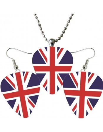 Plectrum ketting en oorbellen met de afbeelding van de Engelse vlag