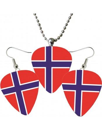 Plectrum ketting en oorbellen met de afbeelding van de Noorse vlag