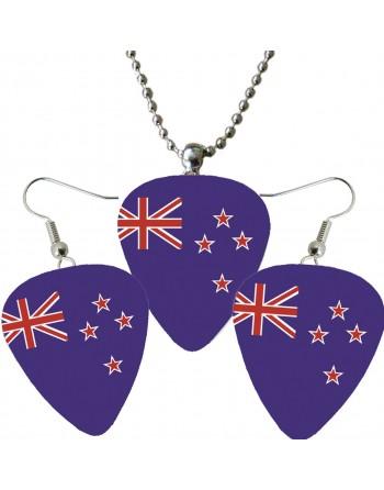 Plectrum ketting en oorbellen met de afbeelding van de Australische vlag