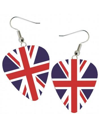 English flag pick earrings