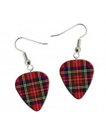 Tartan pick earrings