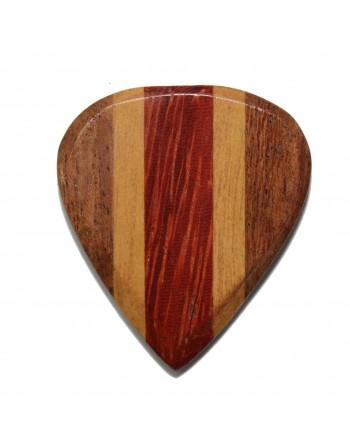Cocobolo, Maple & Padauk Jazz III houten plectrum