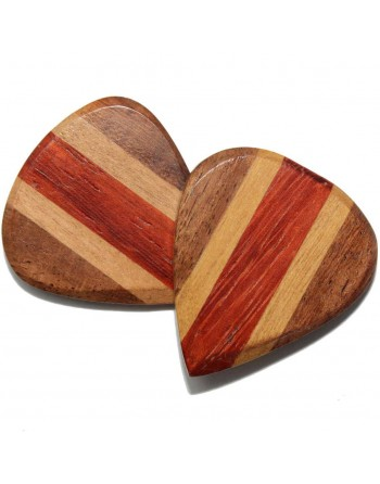 Cocobolo, Maple & Padauk Jazz III houten plectrum