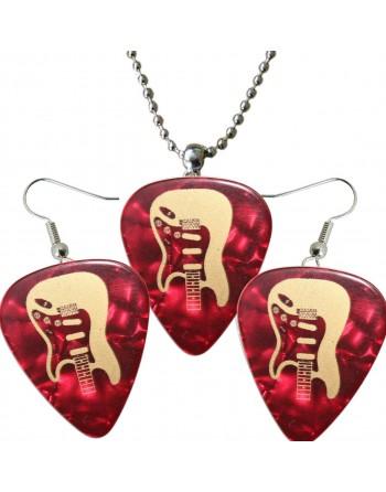 Fender Stratocaster ketting en oorbellen met plectrum